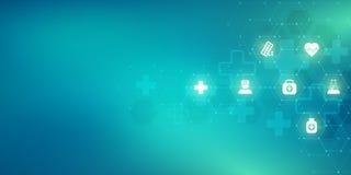 Sanità e fondo medico con le icone ed i simboli piani Concetto di tecnologia di scienza, della medicina e dell'innovazione illustrazione vettoriale