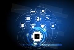 Sanità nell'era digitale, concetto su ordinatore della rete di cura illustrazione di stock