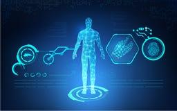 Sanità tecnologica astratta di AI; stampa blu di scienza; interfaccia scientifica; contesto futuristico; modello digitale dell'es