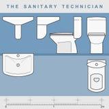 sanitär tekniker stock illustrationer