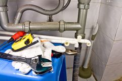 Sanitair apparatuur stilleven. Stock Fotografie