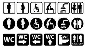 Sanitarnej łatwości i klozetu ikony set ilustracja wektor