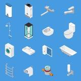 Sanitarnej inżynierii Isometric ikony ilustracja wektor