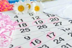Sanitarni ochraniacze, kalendarz, ręcznik i menchie, kwitną na lekkim tle Zdjęcie Stock