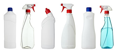 Sanitary bottle. Collection of various sanitary bottles on white background. each one is shot separately Stock Images