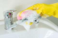 Sanitary clearing of a sink Royalty Free Stock Photography