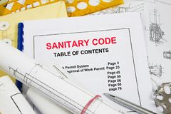 Sanitary Code concept. With technical information background Royalty Free Stock Photography