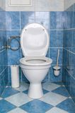 Sanitary concept. Toilet bowl in restroom Stock Images