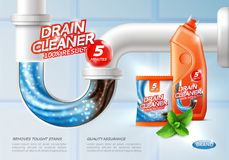Sanitary Drain Cleaner Poster. Drain cleaner poster ad with conceptual image of flush tough stains being washed away and product package vector illustration royalty free illustration