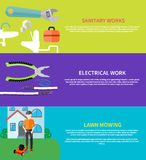 Sanitary, electrical work, lawn mowing Stock Image