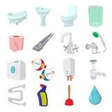 Sanitary engineering cartoon icons Stock Photography