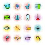 Sanitary engineering comics icons Royalty Free Stock Photos