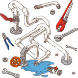 Sanitary Engineering Composition with Pipes. Pliers and Wrenches. Vector Illustration Royalty Free Stock Images