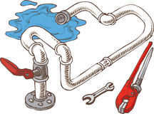 Sanitary Engineering Composition with Pipes and. Wrenches. Vector Illustration Stock Photos