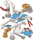 Sanitary Engineering Composition with Pipes and. Wrenches. Vector Illustration Royalty Free Stock Photo