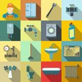 Sanitary engineering flat icons Royalty Free Stock Photos