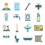 Sanitary engineering flat icons Royalty Free Stock Images