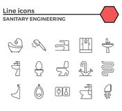 Sanitary engineering flat vector icon set Royalty Free Stock Photos