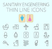 Sanitary engineering flat vector icon set Royalty Free Stock Images