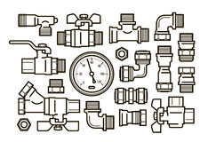 Sanitary engineering, plumbing set icons. Water supply, heating concept. Vector illustration Royalty Free Stock Images