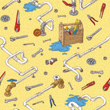 Sanitary Engineering Seamless Pattern. Sanitary Engineering with Pipes and Tools Seamless Pattern. Vector Illustration Royalty Free Stock Photo