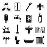Sanitary engineering simple icons Royalty Free Stock Image