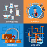 Sanitary fix and plumbing vector concept. Plumber job and plumbing services illustration Stock Images