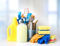 Sanitary household cleaning items objects. stock photography