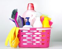 Sanitary items,cleaning household supplies. royalty free stock images