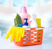 Sanitary items,cleaning household supplies. stock image