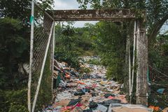 Sanitary landfill  - garbage dump, waste desposit - environmenta. L pollution Stock Image