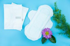 Sanitary napkin with flowers on blue background royalty free stock photography