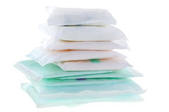 Sanitary napkins (sanitary towel, sanitary pad, menstrual pad). A pile of different types and sizes of Sanitary napkins (sanitary towel, sanitary pad, menstrual Royalty Free Stock Photography