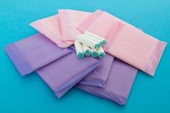 Sanitary napkins and tampons Royalty Free Stock Photography