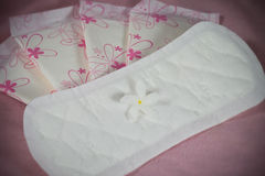 Sanitary pad package for woman hygiene protection Royalty Free Stock Images