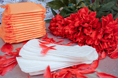 Sanitary pads in box,  flower and petals Stock Images