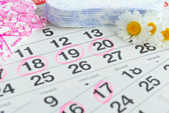 Sanitary pads, calendar, towel and pink flower on light background royalty free stock image