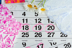 Sanitary pads, calendar, towel and pink flower on light background stock photos