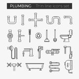 Sanitary plumbing engineering vector thin line icons. Set for web and mobile applications Royalty Free Stock Image