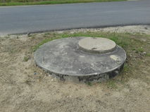 Sanitary sewer cover Stock Photo