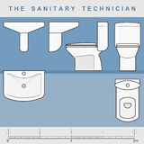 The sanitary technician. Set from elements of sanitary furniture Royalty Free Stock Photo