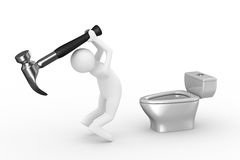 Sanitary technician repairs toilet bowl Royalty Free Stock Images