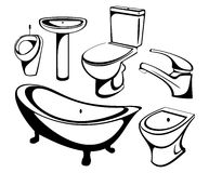 The sanitary technician set. A vector illustration Royalty Free Stock Photography
