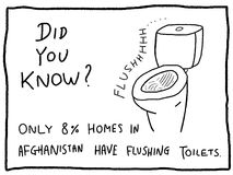 Sanitation fact. Fun quiz trivia - useful doodle cartoon illustration usable as a webcomic or for funny section of a newspaper Stock Photos