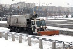 Sanitation truck street snow cleaning Royalty Free Stock Photos