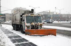 Sanitation truck street snow cleaning Royalty Free Stock Photo