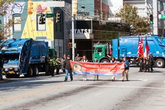 Sanitation Trucks Block Streets To Prevent Terrorism At Atlanta Parade stock photography