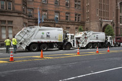 Sanitation trucks for collecting refuse NYC Royalty Free Stock Image