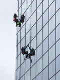 Sanitation workers cleaning glass facade hotel Stock Photography