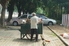 The sanitation workers in garbage removal Royalty Free Stock Photos
